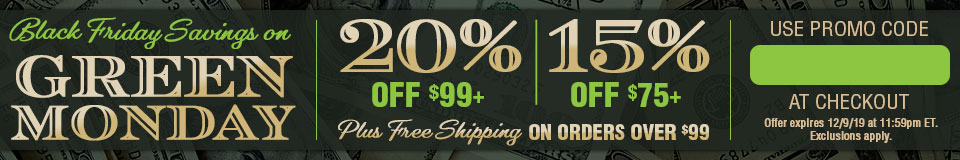 Shop Green Monday! 20% Off Orders 99+