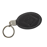 Diamond Crown Leather Keychain  Black