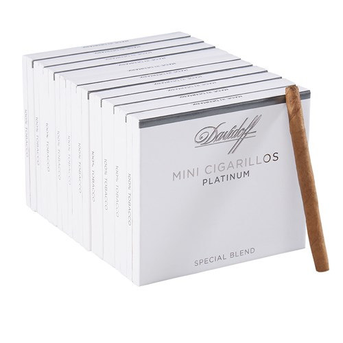 "Davidoff Platinum Mini Cigarillo Platinum Habano Mini Cigarillo (Cigarillos) (3.5""x20) PACK (100)"