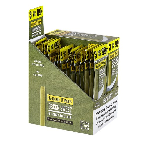 "Good Times Mini Cigarillo Green Sweet (Cigarillos) (4.2""x27) BOX (90)"