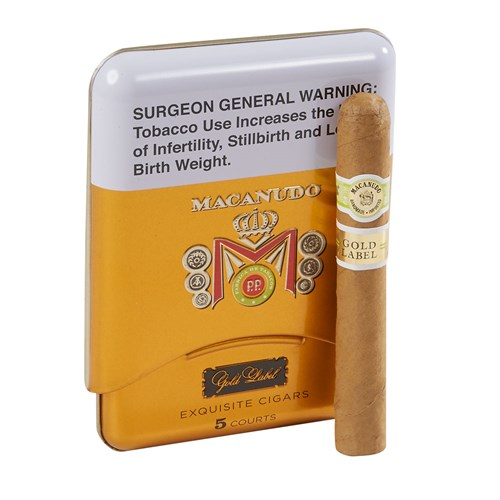 "Macanudo Gold Label Court Cigarillos Connecticut (4.2""x36) PACK (5)"