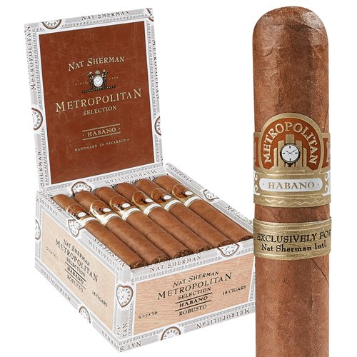 "Nat Sherman Metropolitan Selection Short Robusto Habano Robusto (5.5""x56) BOX (18)"